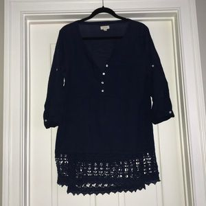Navy blue crocheted beach cover up